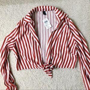 Bnwt red striped longsleeve tie top blouse